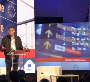 Traducción simultánea en Valencia - Pedro Sánchez - Comité Europeo de las Regiones 2017